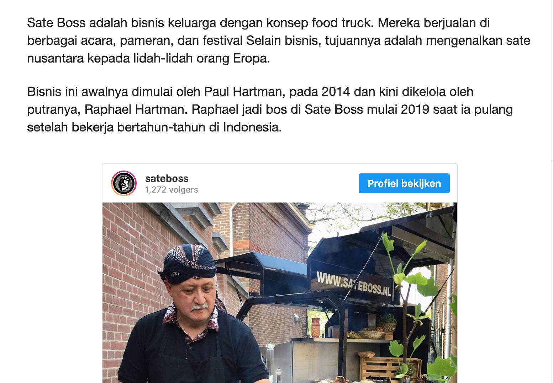 Screenshot van online artikel uit Indonesie waar Sateboss in staat vermeld